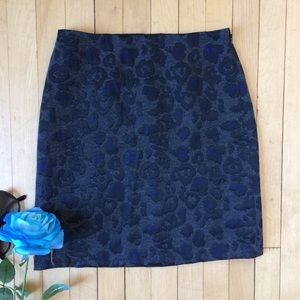 Ann Taylor • Grey & Blue Leopard Print Mini Skirt